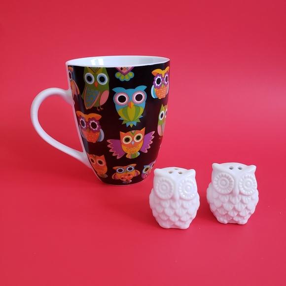Divinity owl mug fnd salt and pepper shackers